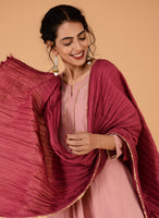 Old rose anarkali kurta with dupatta and pants - Label Raasleela