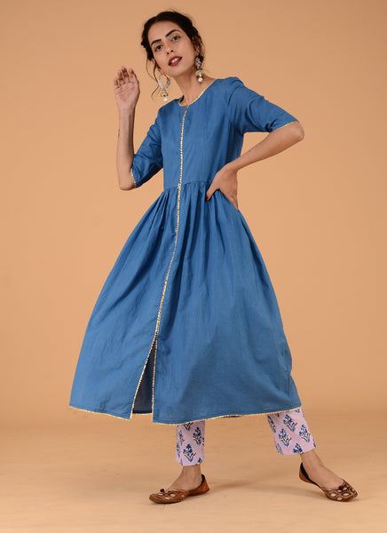 Blue silver festive cotton tunic pant set - Label Raasleela