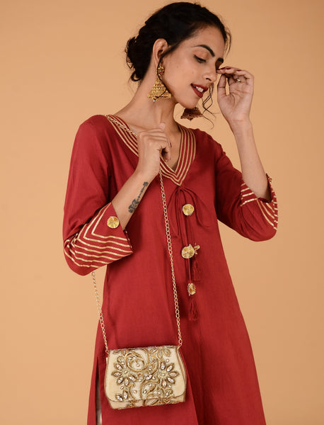 Deep red festive tunic pant set - Label Raasleela