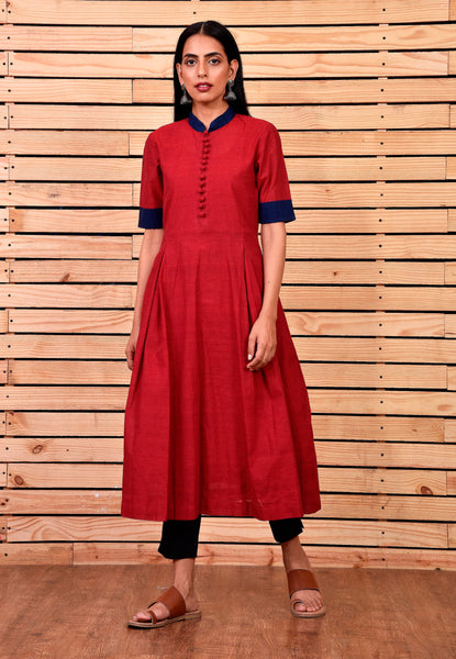 Maroon Tunic Dress with pleats - Label Raasleela