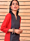 Red black cotton kurta - Label Raasleela