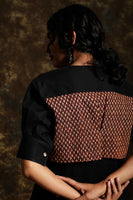 Black cotton top with printed back panel - Label Raasleela