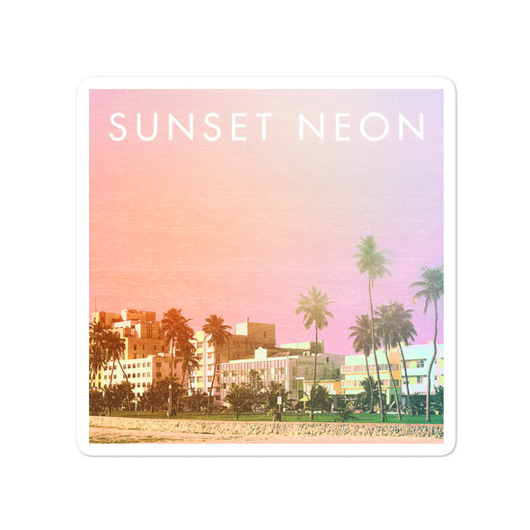 Sunset Neon Palms Sticker