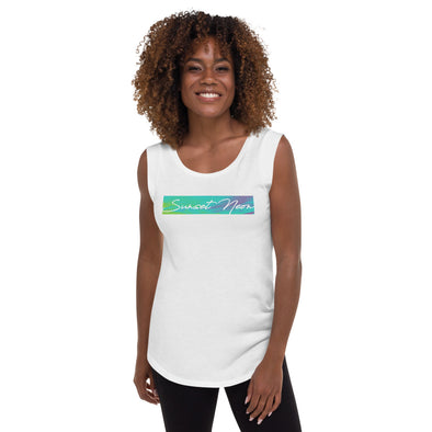 Sunset Neon Neowave Script Women's Cap Sleeve T-Shirt