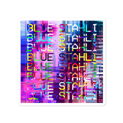 Blue Stahli Technicolor Glitch Sticker (Square)