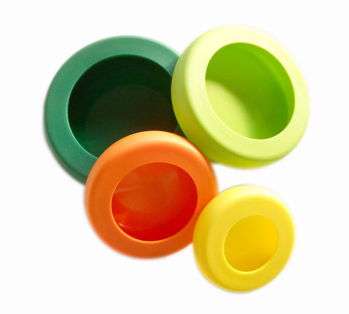 Reusable Silicone Food Savers, Set of 4, Fresh Colors!