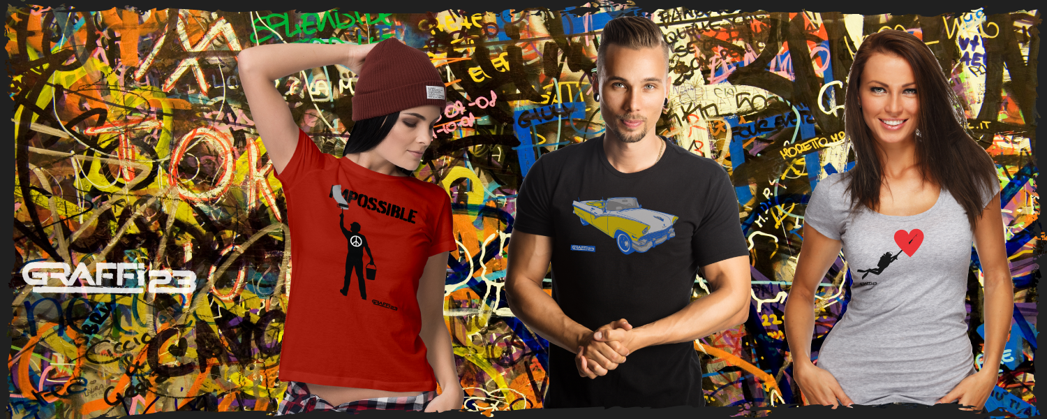 Men's & Women's Apparel with printed unique artwork banner