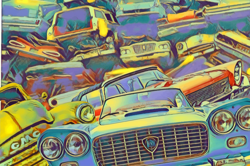 Classic Car Art - Junkyard with old vintage classic cars, Digital Art Image License for Download