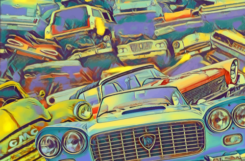 Classic Car Art - Junkyard with old vintage classic cars