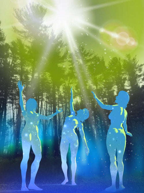 Spiritual Awakening digital art image of women dancing in the light