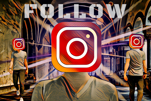 FOLLOW - INSTAGRAM SPOOF ART - POP SURREALISM DIGITAL ART IMAGE, ART, CRYPTO ART