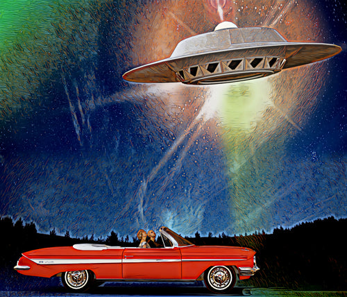 Science Fiction Art and Classic Car Poster Print