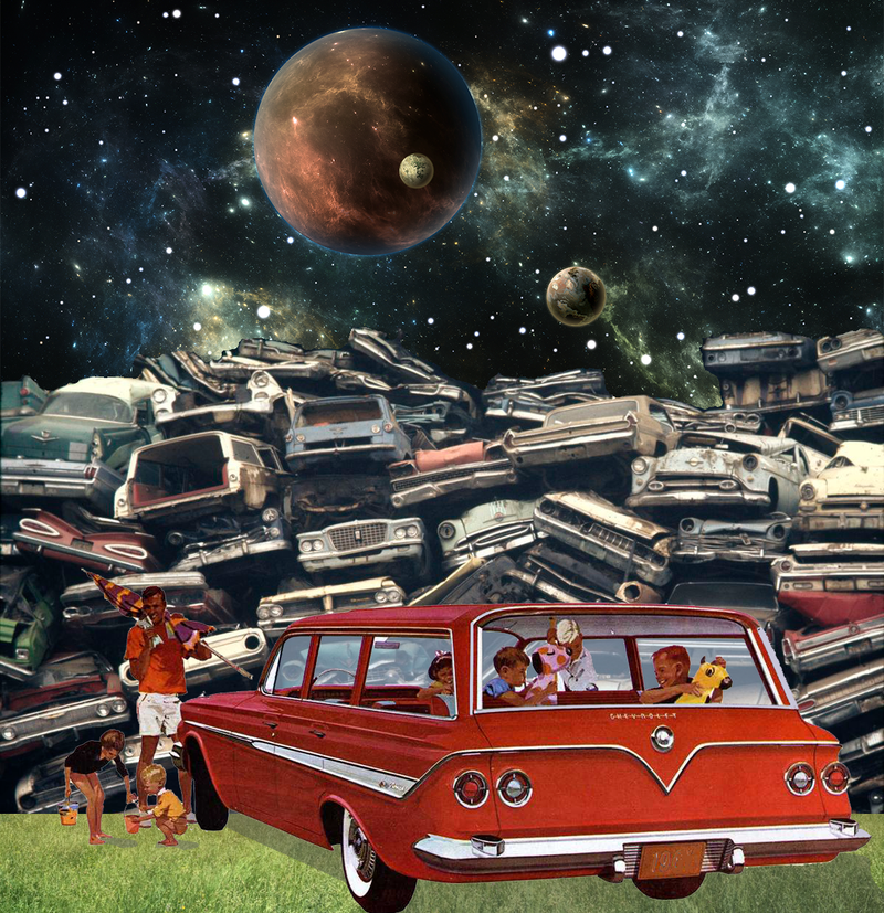 Motor City Classic Retro Surreal Art Image by Forlenza