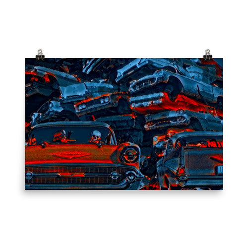 JUNKYARD GHOST CARS - Pop Surrealism Art photo paper poster