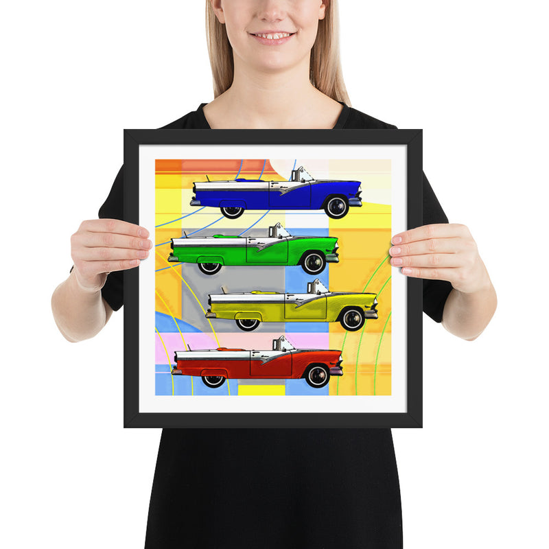 CLASSIC CARS POP ART - Framed poster