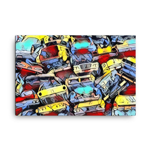 """JUNKYARD CLASSICS"" - 24"" x 36"" POP ART PRINT ON STRETCHED CANVAS"