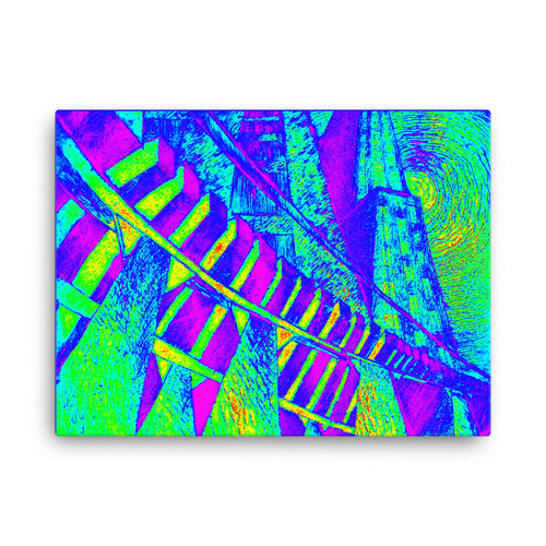 "ELEVATED SUBWAY TRIP - Abstract Art Print on 18"" x 24"" Canvas"