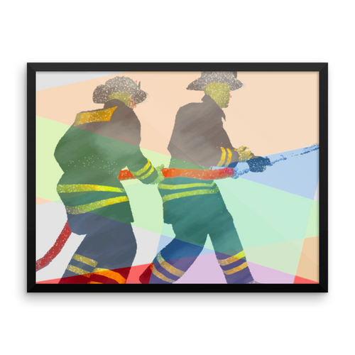 """FIREFIGHTERS"" - 18"" x 24"" FRAMED ART POSTER"
