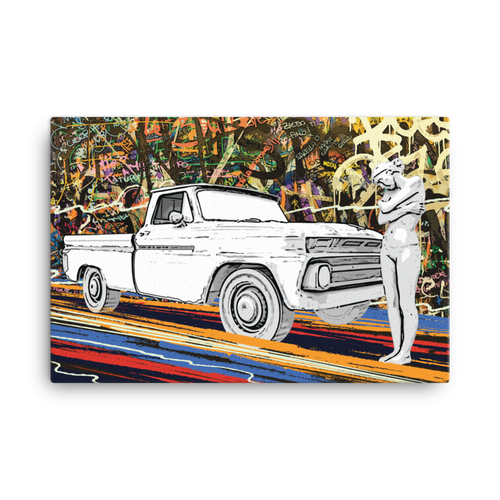 Graffiti Street Art Canvas Print of Pickup Truck