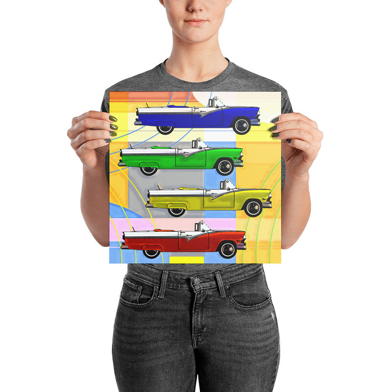 RETRO CLASSIC CARS POP ART - Photo paper poster