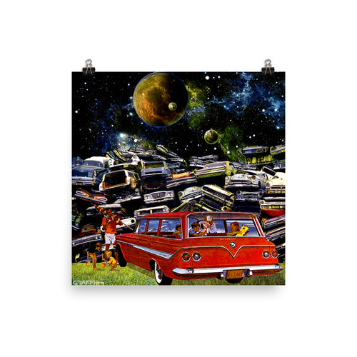 JUNKYARD PICNIC - Retro Classic Car Pop Surrealism Poster