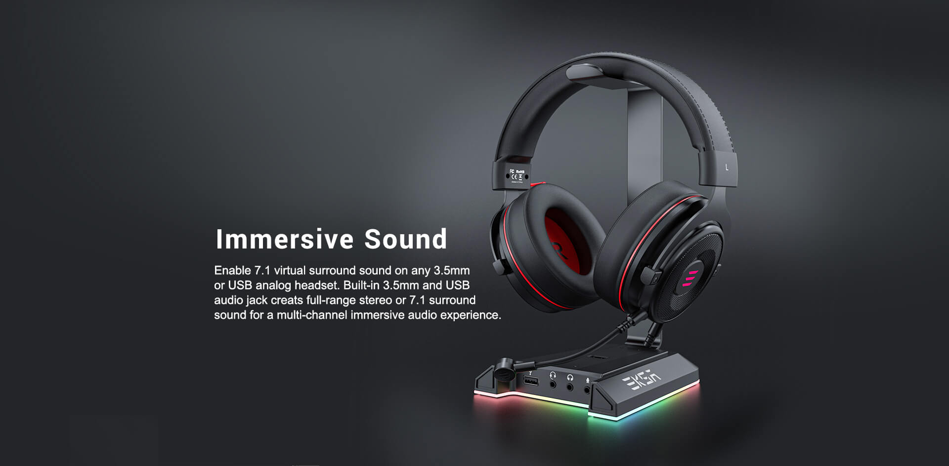EKSA RGB headset stand with 7.1 virtual surround sound