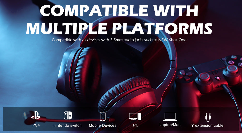 EKSA E400 RGB gaming headset is compatible with multi-platform, PS4,XBOX ONE, PC, Mac & other mobile device