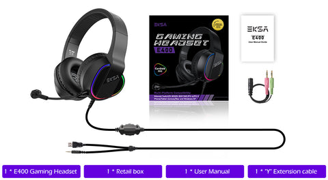 E400 RGB gaming headset packages