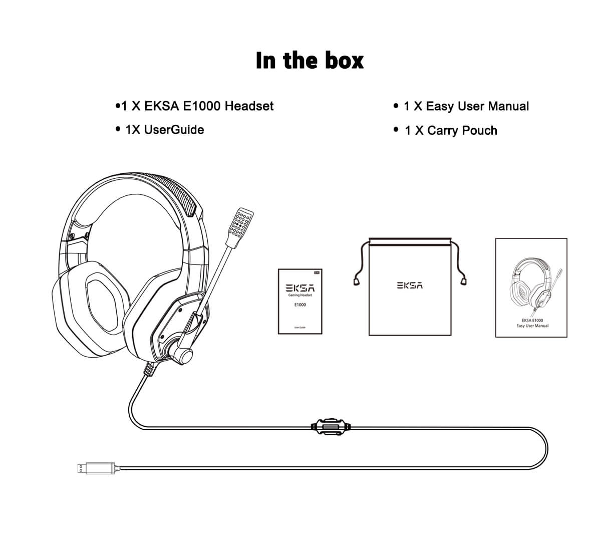 EKSA E1000 gaming headset package list