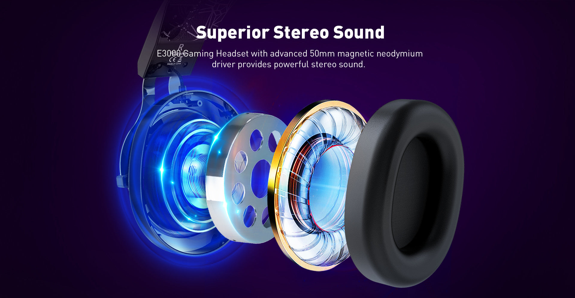 E3000 Gaming Headset with advanced 50mm magnetic neodymium driver provides powerful stereo sound.