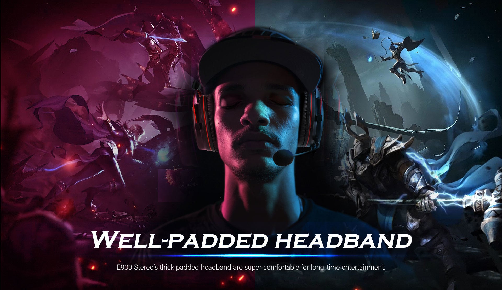 E900 Stereo's thick padded headband are super comfortable for long-time entertainment.