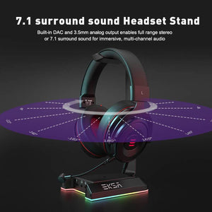 EKSA W1 RGB Headset Stand with 7.1 Virtual Surround Sound