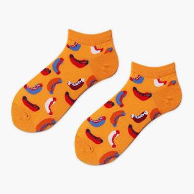 Hotdogs on Orange Socks - Socksmon