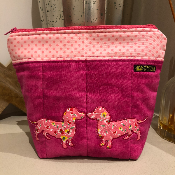 Pink Embroidered Kissing Dachshunds Make Up Bag