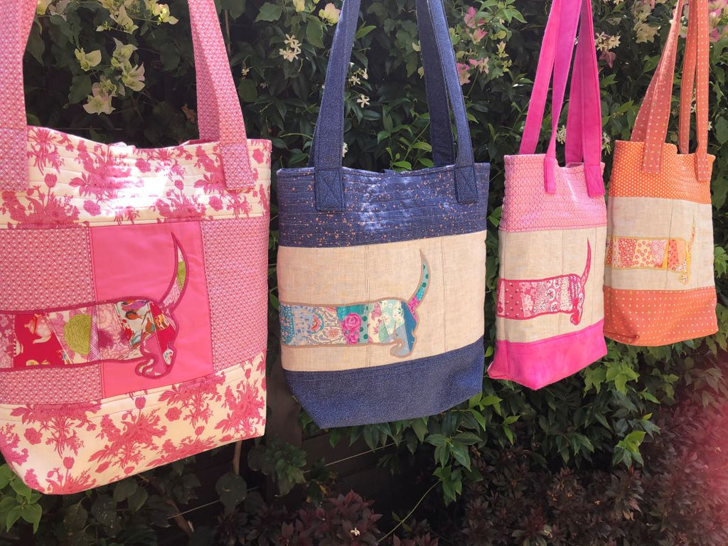 Custom Made Patchwork Embroidered Sausage Dog Ladies Bag