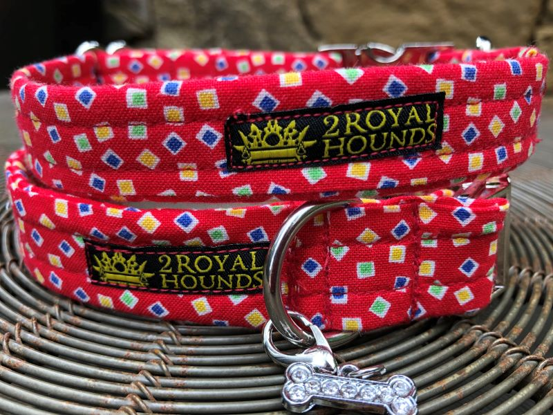 Red Mini Squares Dog Collars
