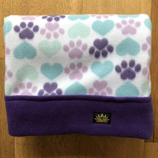Paws and Hearts with Purple Trim Snuggle Sack
