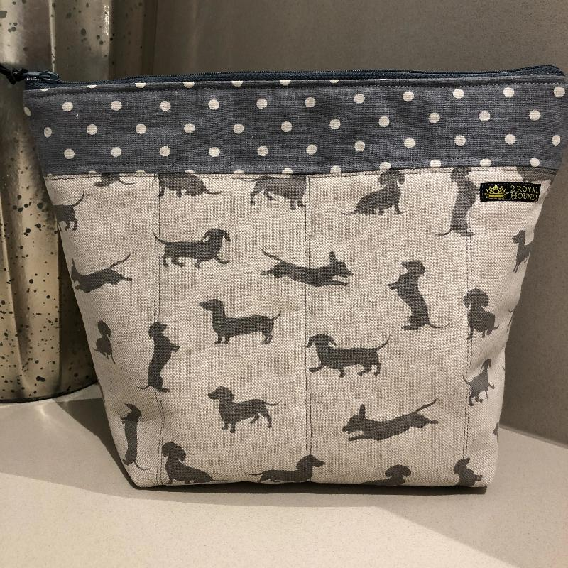 Grey Happy Hounds Linen Waterproof Lined Toiletry Bag