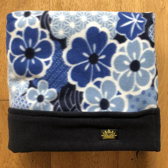 Navy and Blue Flower Trim Snuggle Sack
