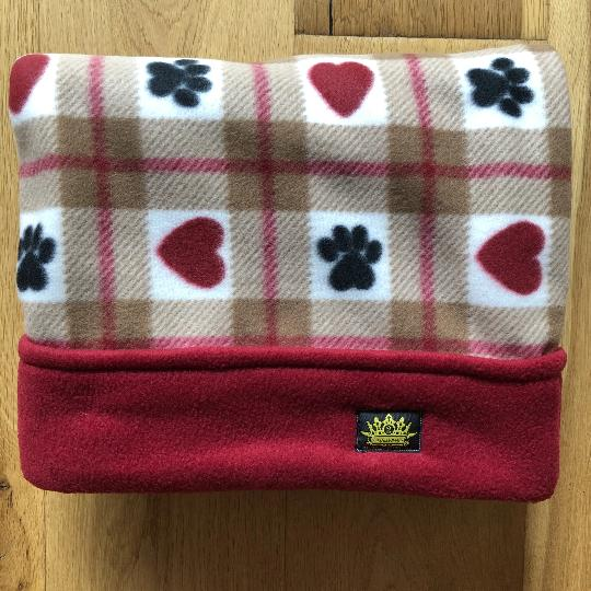 Paws and Hearts Deep Red Trim Snuggle Sack