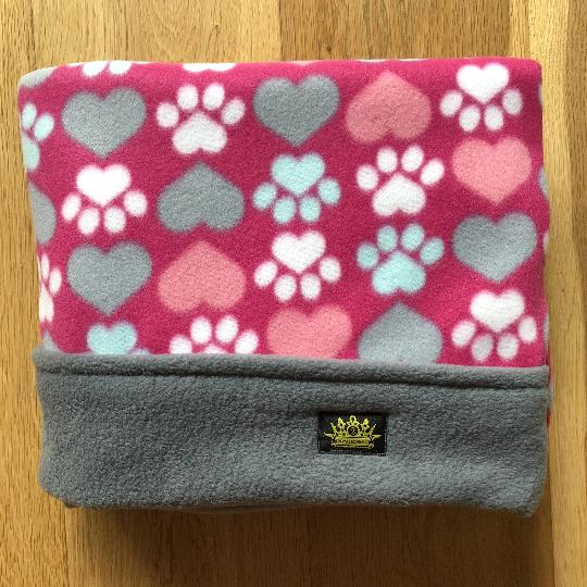 Pink Hearts and Paws Grey Trim Snuggle Sack