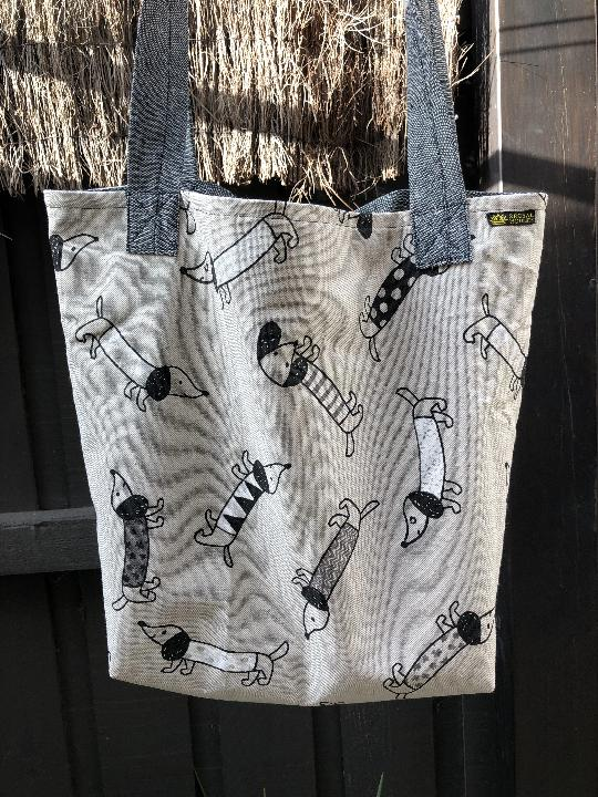 Quirky Sausage Dog Linen Market Tote Bag