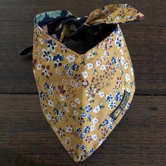 Mustard Flowers and Navy Reversible Neckerchief