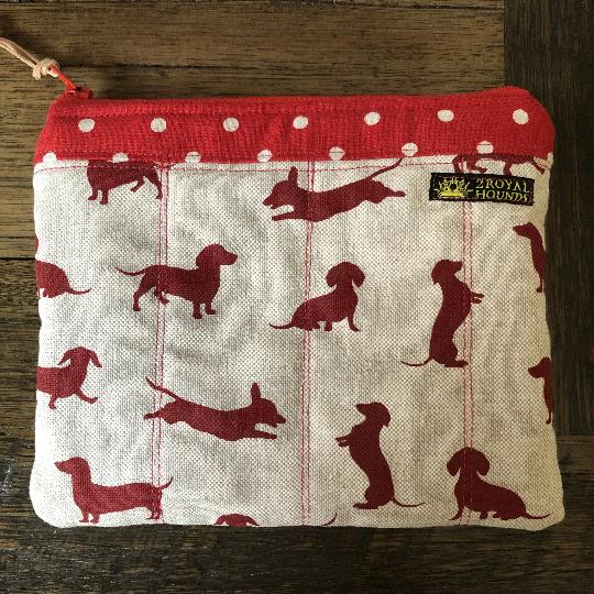 Red Happy Hounds Waterproof Lined Zipper Pouch