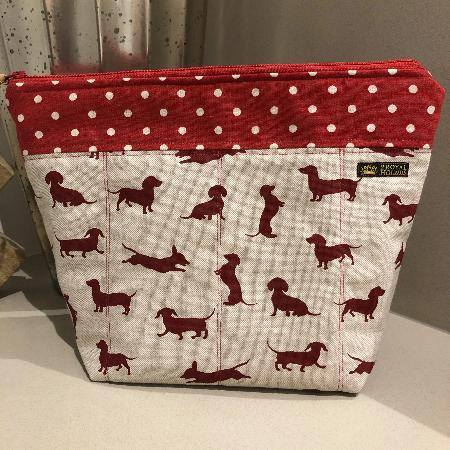 Red Happy Hounds Linen Waterproof Lined Toiletry Bag