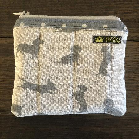 Grey Happy Hounds Coin Size Waterproof Lined Zipper Pouch
