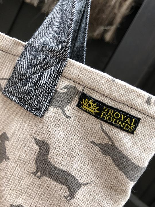Happy Hounds Grey Linen Market Tote Bag