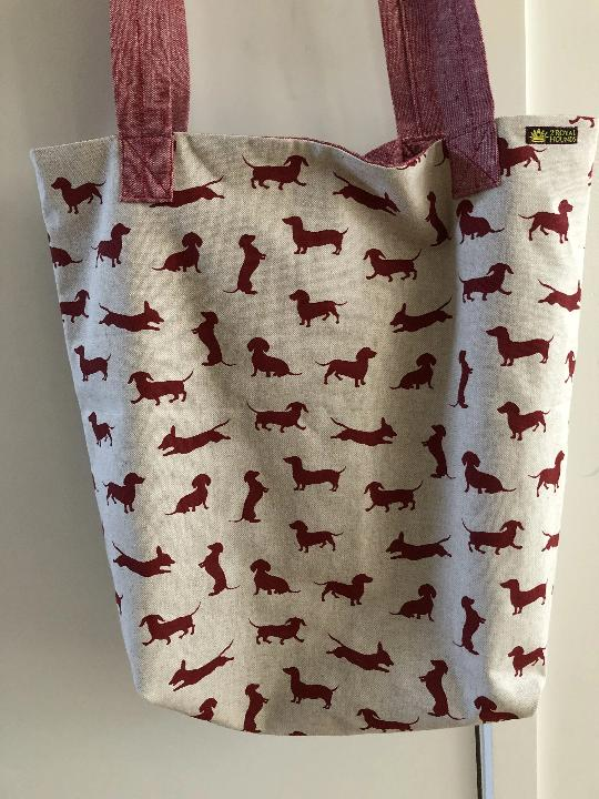 Happy Hounds Red Linen Market Tote Bag