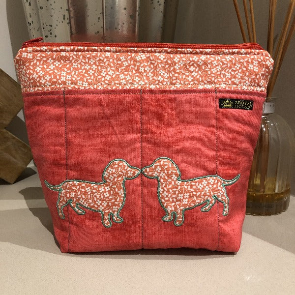 Tangerine Embroidered Kissing Dachshunds Make Up Bag