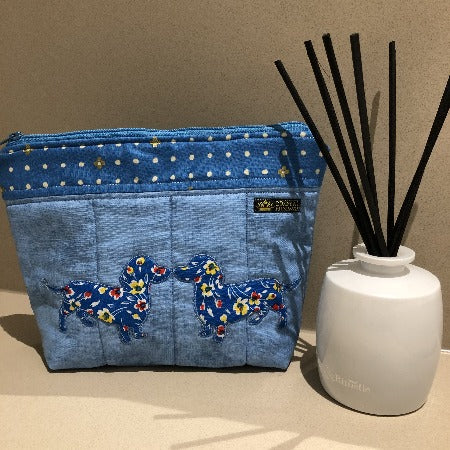 Blue Embroidered Kissing Dachshunds Make Up Bag